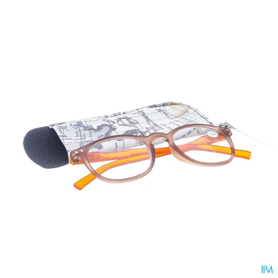 Leesbril Pharmaglasses Comp. Brown/Orange +2,00