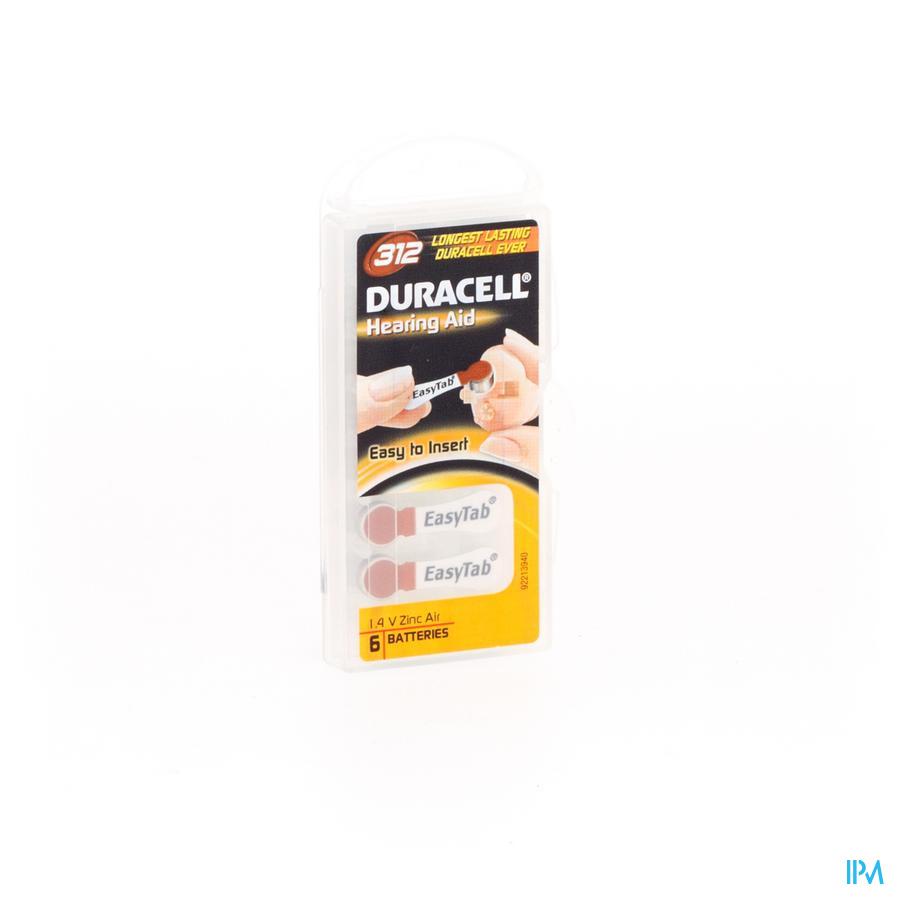 Oorbatterij voor hoorapparaat Duracell  Easytab DA13 6 stuks oranje