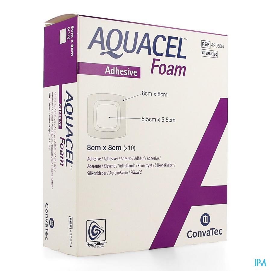 Aquacel adhesief schuimverband (8x8cm) / 10 stuks