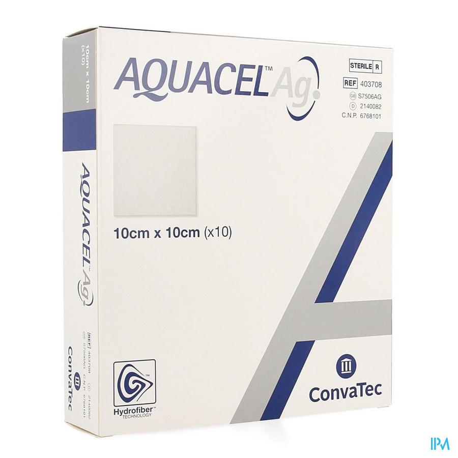 Aquacel Ag hydrofiberverband (10x10cm) / 10 stuks