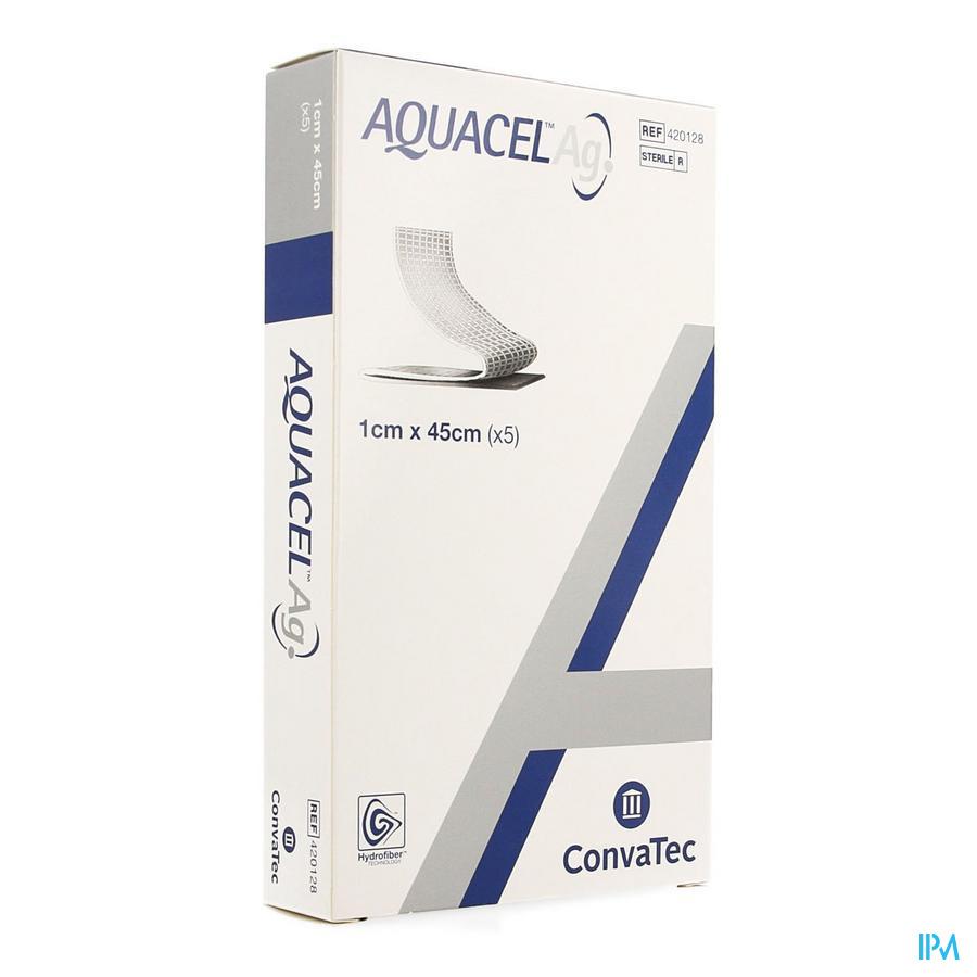 Aquacel Ag Wiek hydrofiberverband + versterkende vezel (1x 45cm) / 5 stuks