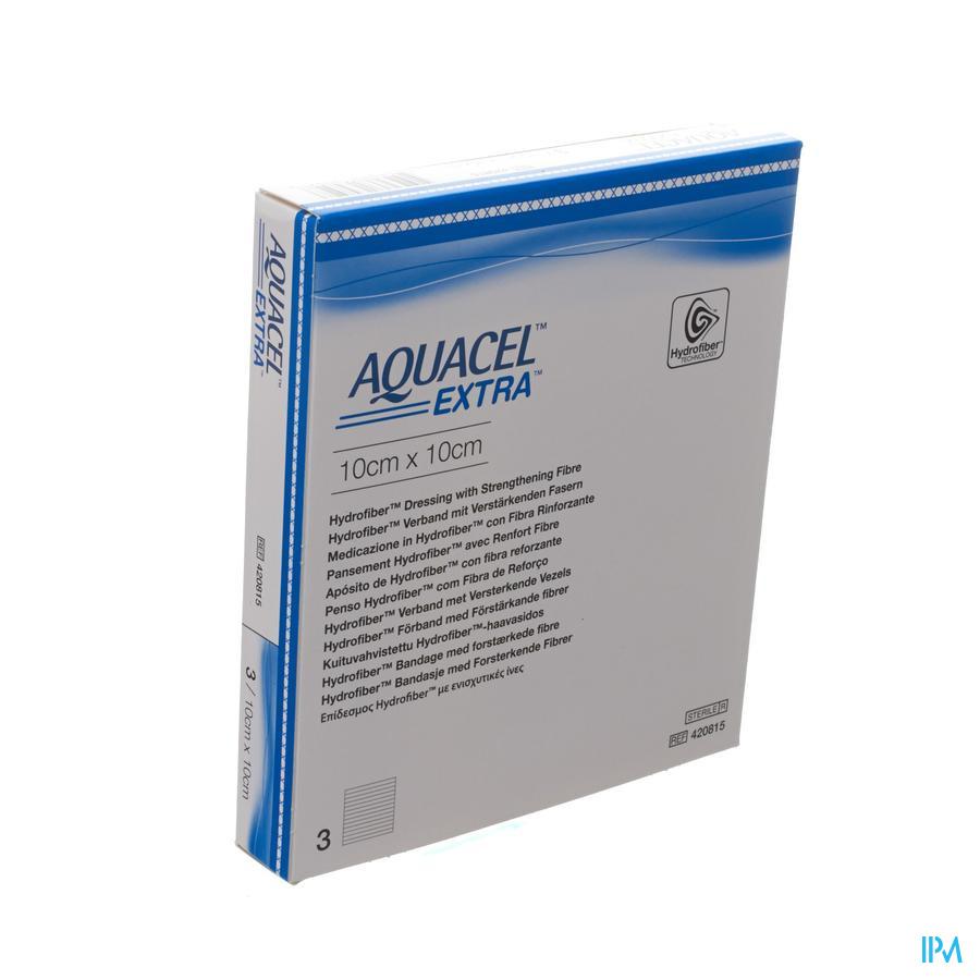 Aquacel Extra Hydrofiber verband + versterkende vezel (10x10cm) / 3 stuks