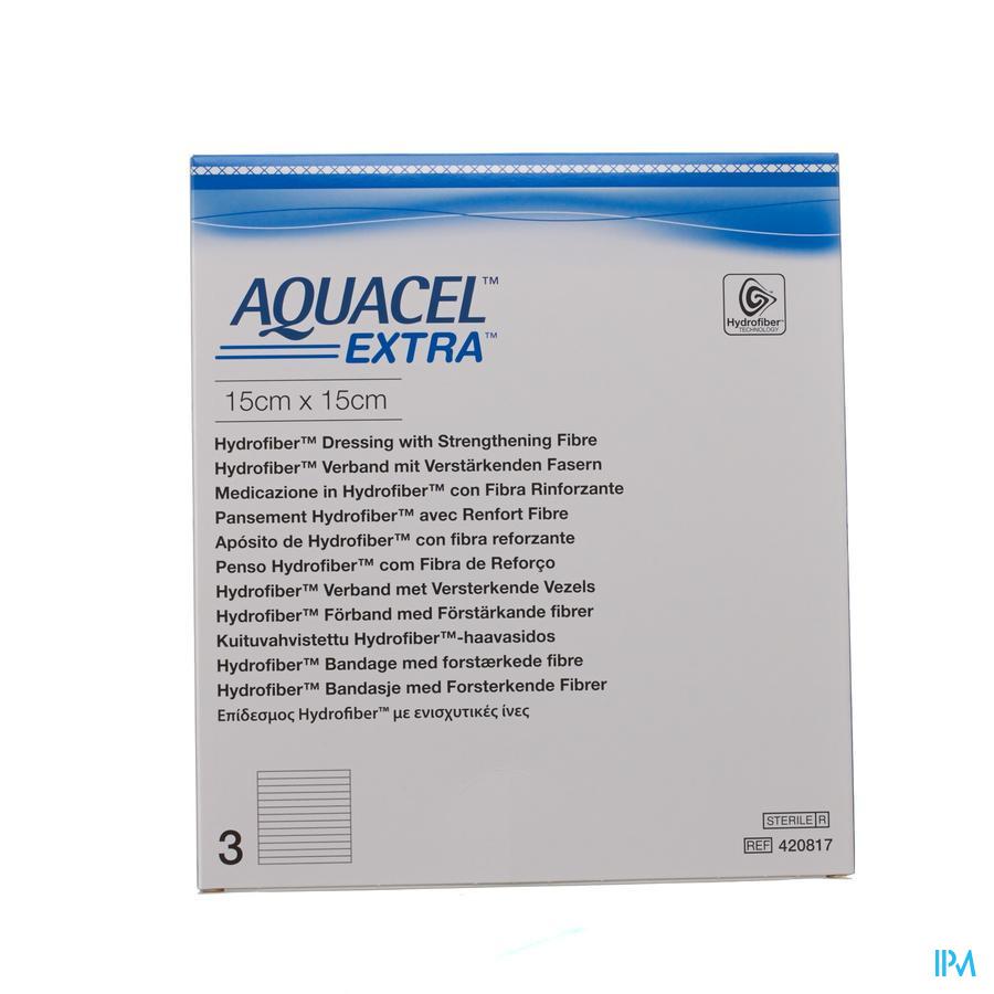 Aquacel Extra Hydrofiber verband + versterkende vezel (15x15cm) / 3 stuks