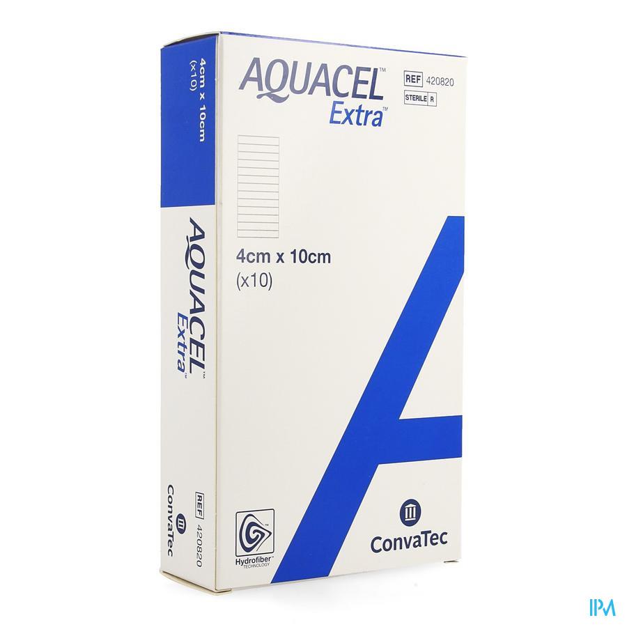 Aquacel Extra Hydrofiber verband + versterkende vezel (4x10cm) / 10 stuks