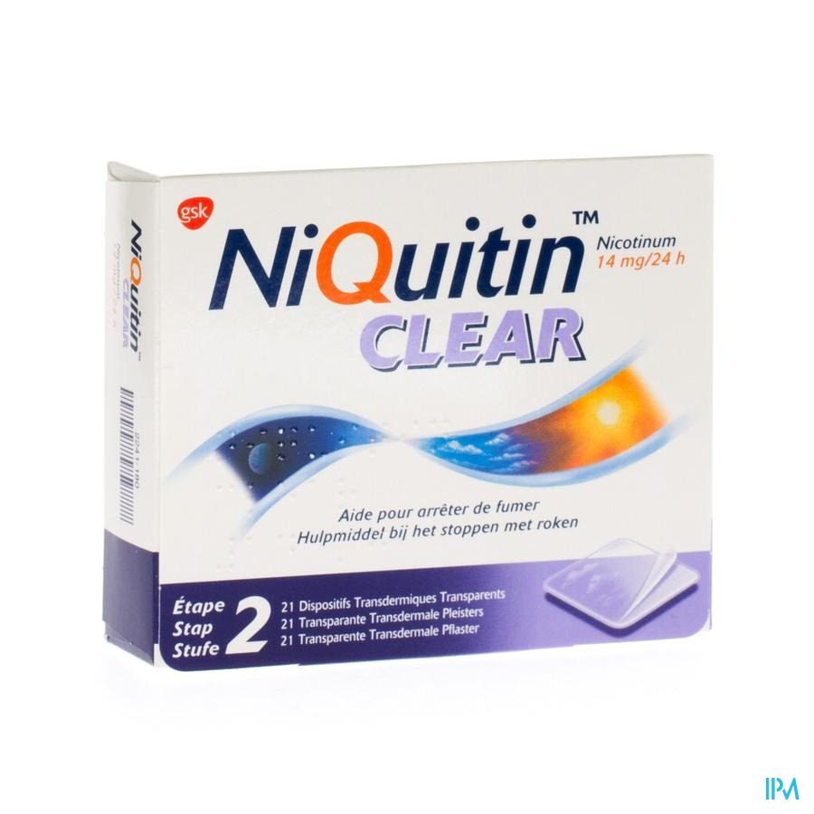 Niquitin Clear pleisters 14mg (21 stuks)