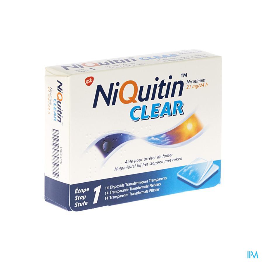 Niquitin Clear pleisters 21mg (14 stuks)