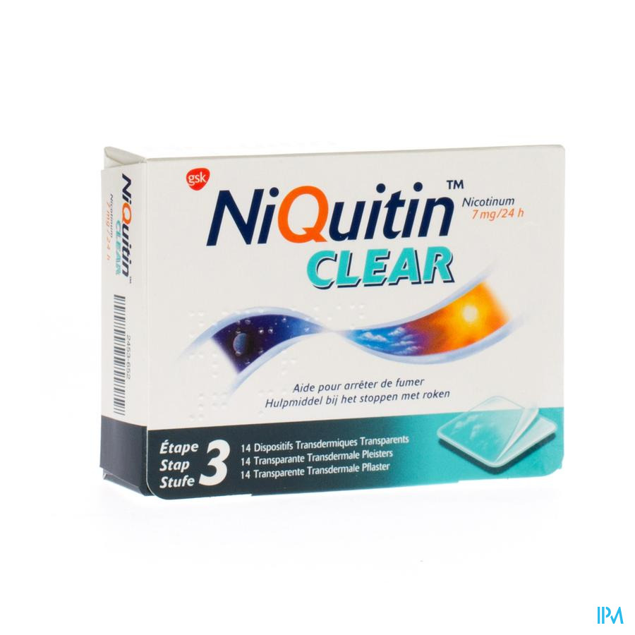 Niquitin Clear pleisters 7mg (14 stuks)