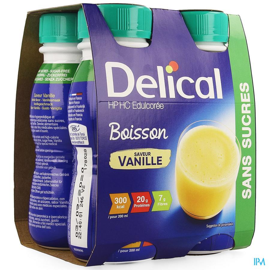 Delical HP-HC (zonder suiker) Vanille 4x200 ml (300 kcal/flesje)