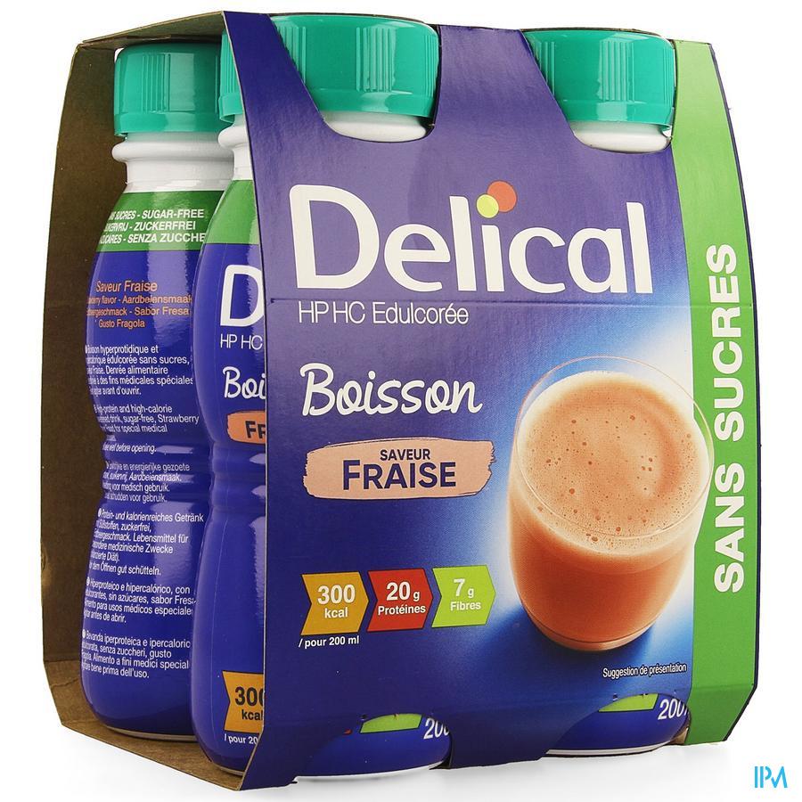 Delical HP-HC (zonder suiker) Aardbei 4x200 ml (300 kcal/flesje)