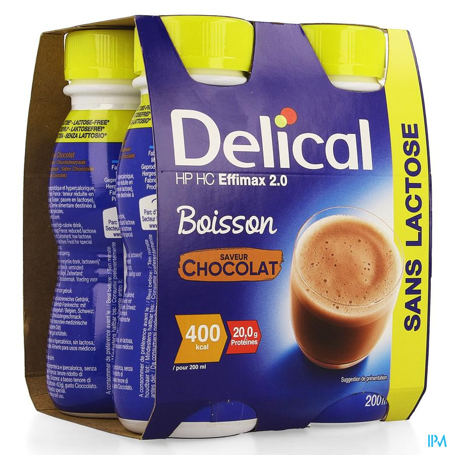 Delical EFFiMAX 2.0 Chocolade 4x200 ml (400 kcal/ flesje)