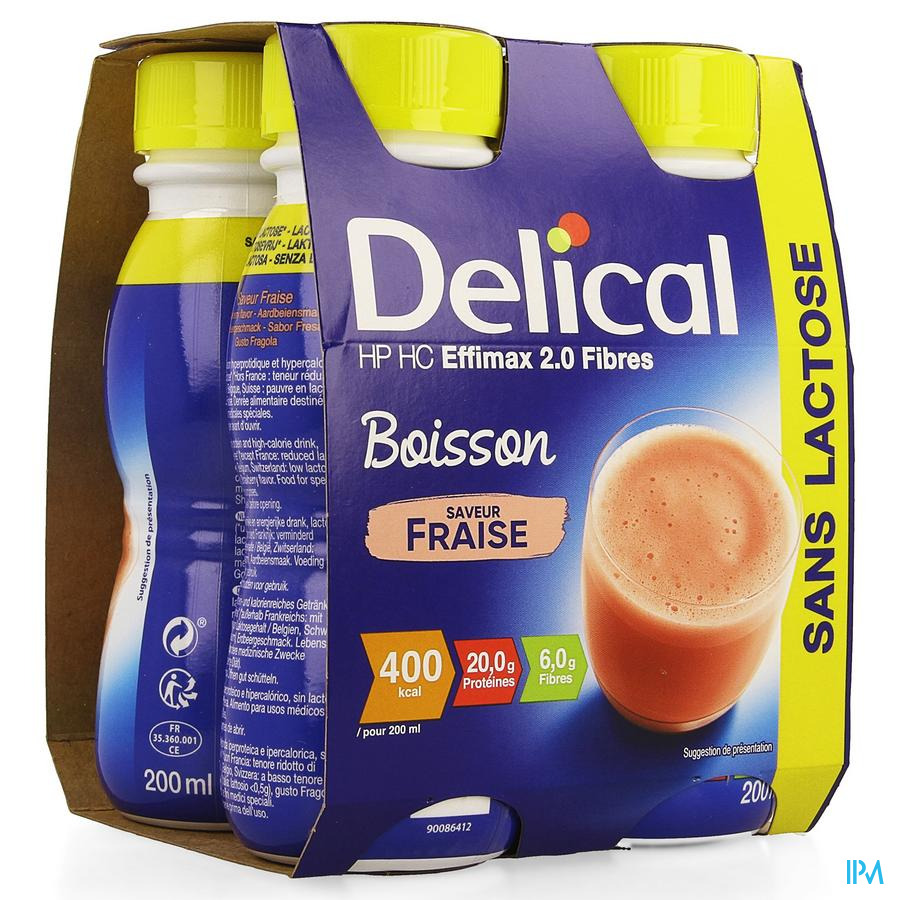 Delical EFFiMAX 2.0 Aardbei (+vezels) 4x200 ml (400 kcal/ flesje)