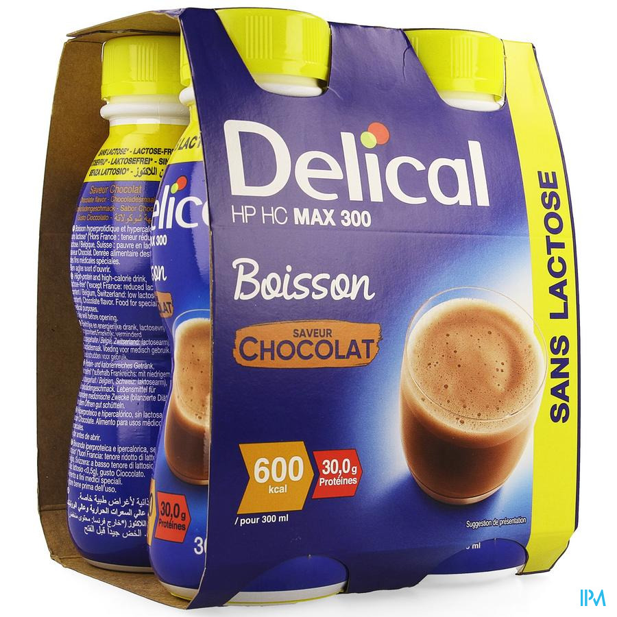 Delical MAX.300 Chocolade 4x300 ml (600 kcal/ flesje)