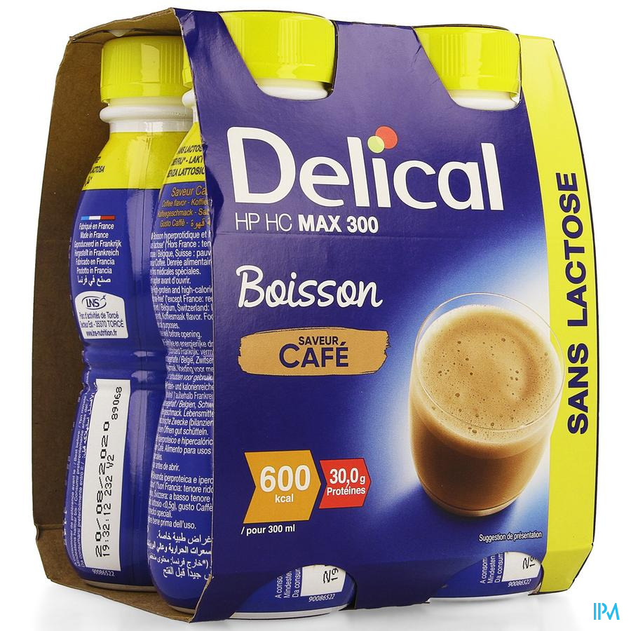 Delical MAX.300 Koffie 4x300 ml (600 kcal/ flesje)