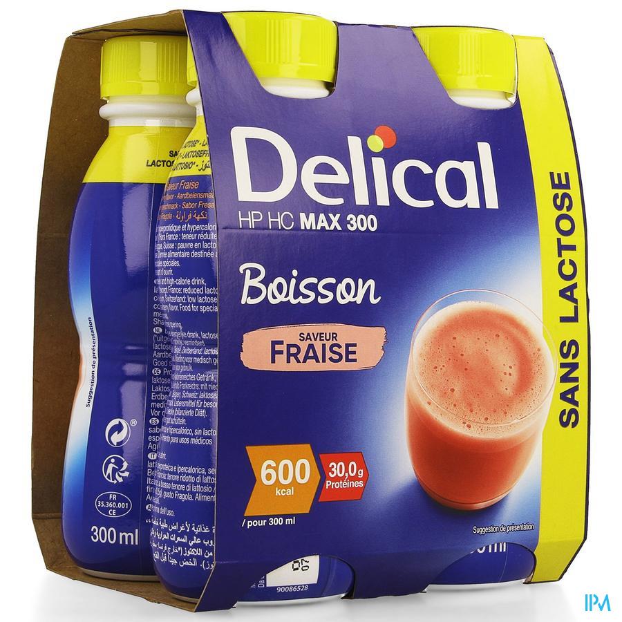 Delical MAX.300 Aardbei 4x300 ml (600 kcal/ flesje)