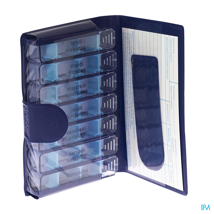 Pillendoos Medidose Pocket 7 dagen blauw nl/fr