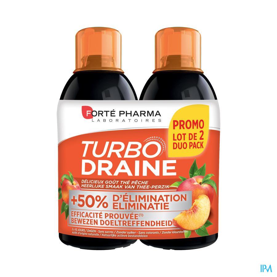 TurboDraine Groene thee Perzik / duopack (2 x 500ml)
