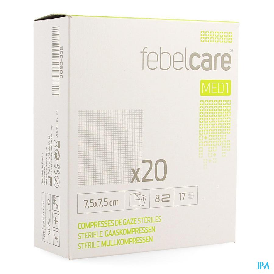 Febelcare gaascompres 7,5x7,5 (20)