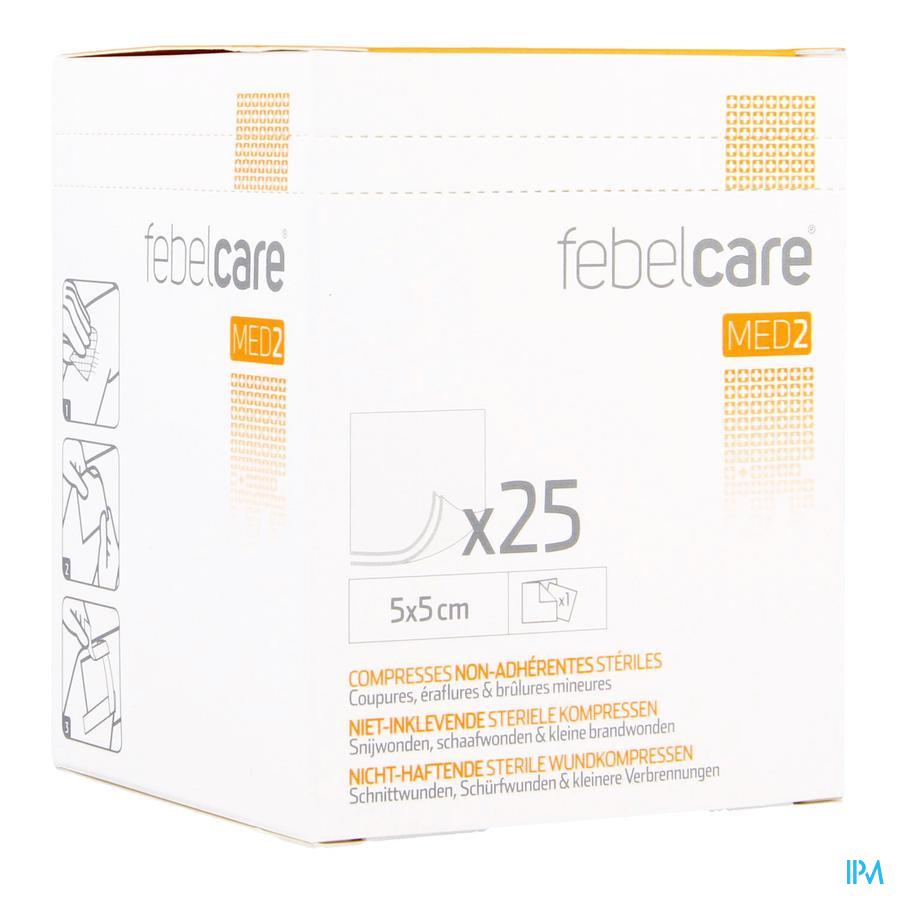 Febelcare  niet-inklevend compres 5x5cm (25)