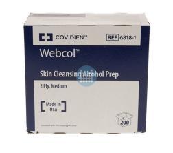 Webcol alcohol doekjes prep 3,3x3,1cm (200stuks)