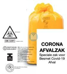 Corona  afvalzak besmet materiaal (Biohazard)